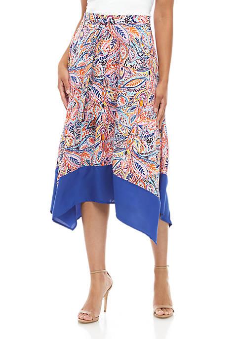 Vertical Scarf Hem Skirt