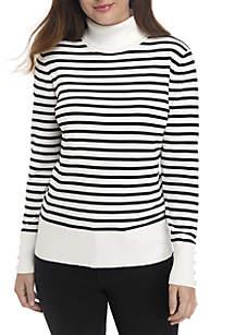 Stripe Turtleneck Sweater