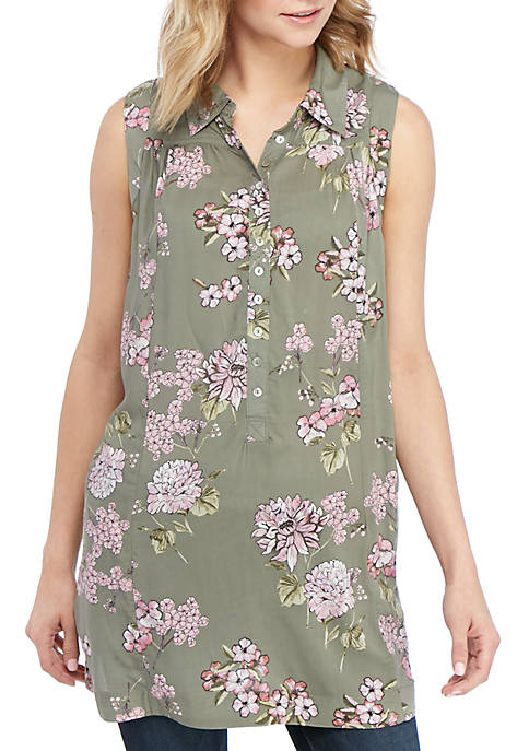 cupio blush Sleeveless Floral Henley Tunic