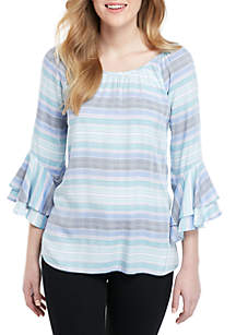 Cupio 3/4 Ruffle Sleeve Stripe Top
