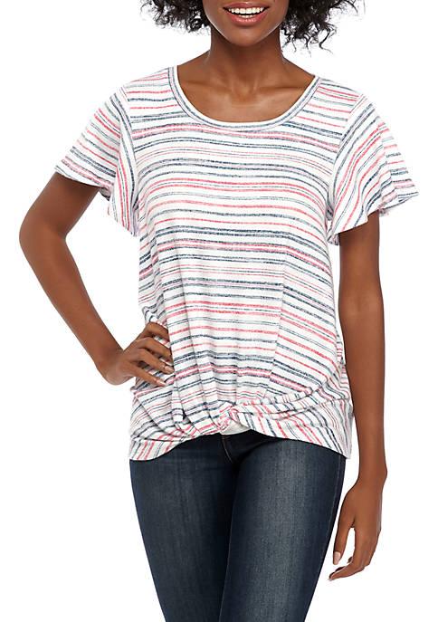 cupio blush Striped Twist Front Top