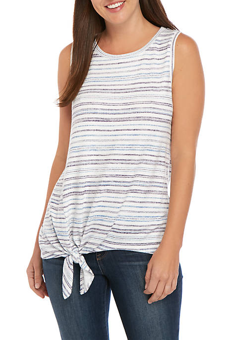 Cupio Asymmetric Tie Front Endless Knit Top