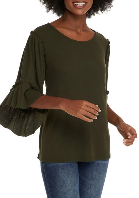 Womens Ruffle Sleeve Knit Top