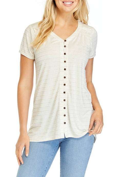 Womens Button Front High Low Blouse