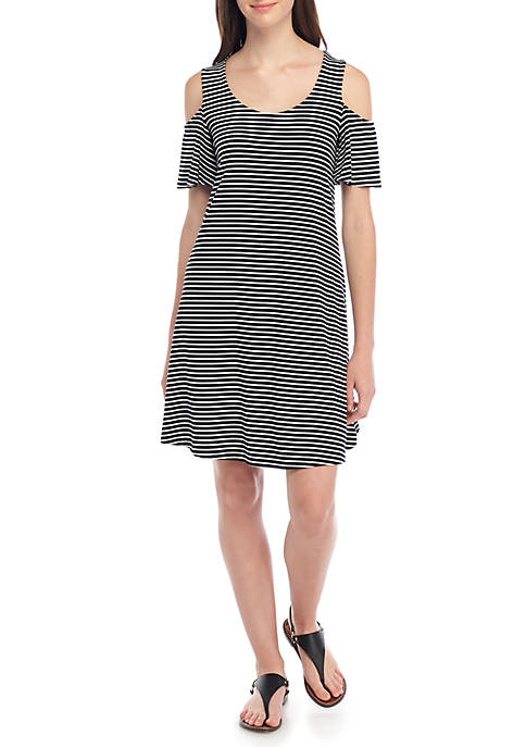 cupio blush Cold Shoulder Stripe Swing Dress