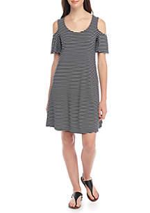 Cold Shoulder Stripe Swing Dress