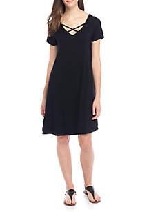 Cap Sleeve V-Neck Dress