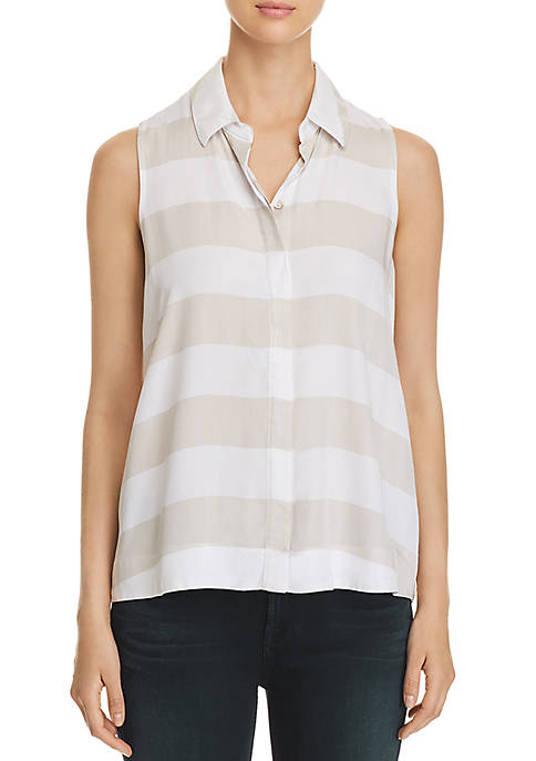 cupio blush Sleeveless Collar Button Front Top