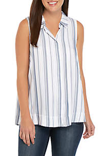 cupio blush Sleeveless Collar Button Front Top