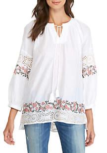 3/4 Sleeve Split Neck Embroidered Popover Top