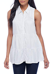 Striped Yarn Dyed Sleeveless Button-Front Shirt