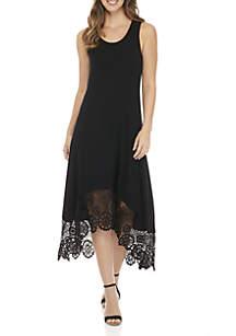 Black Crochet High Low Hem Tank Dress