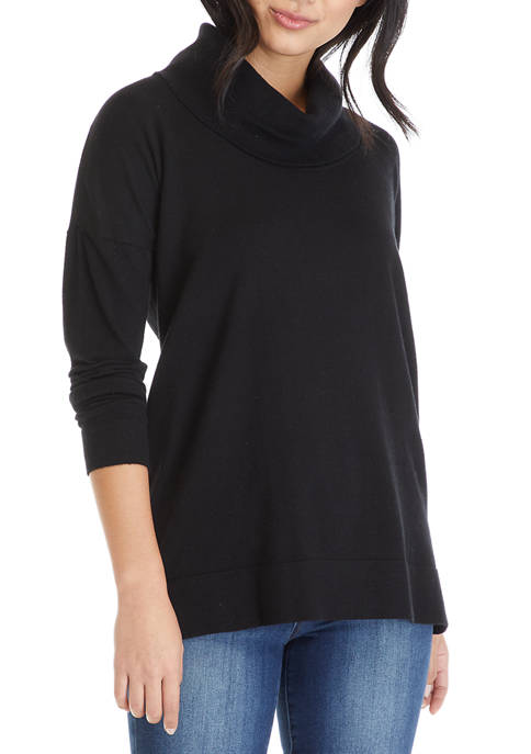 Cupio Womens Drop Shoulder Cowl Neck Sweater