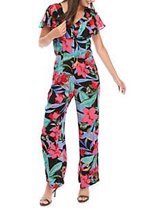 Cupio V Neck  Ruffle Printed Jumpsuit