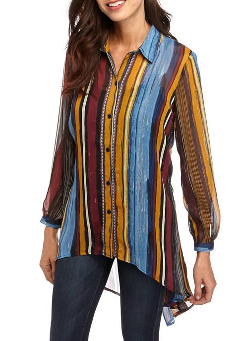 Cupio Womens High Low Tunic Jacquard LUREX® Shirt