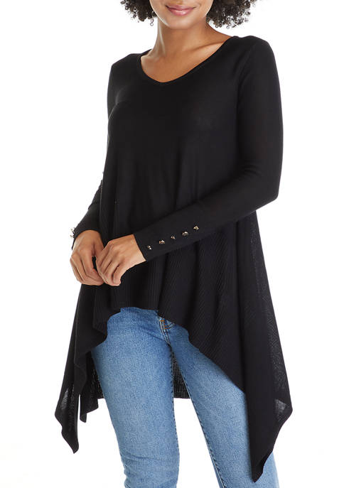 Womens Long Sleeve V-Neck Trapeze Sweater
