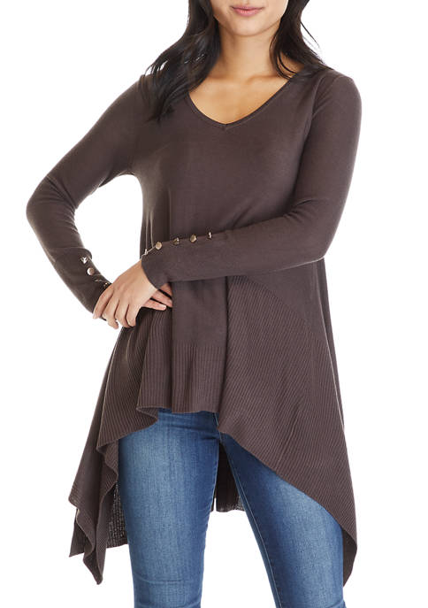 Cupio Womens Long Sleeve V-Neck Trapeze Sweater