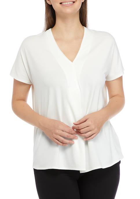 Cupio Womens Extended Cap Dolman Sleeve V-Neck Top
