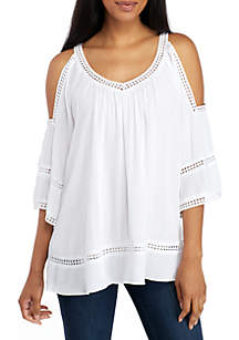 Cold Shoulder V-Neck Blouse with Crochet Trim
