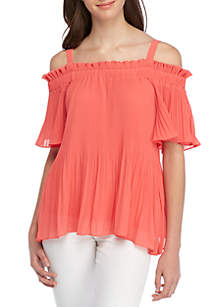 Ruffle Sleeve Off-The-Shoulder Frilled Top