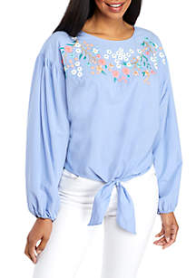 Long Batwing Sleeve Embroidered Top