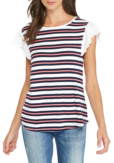 Cupio Yarn Dyed Striped Lace Ruffle Sleeve Top