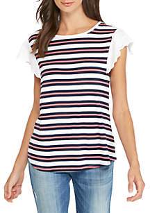 Yarn Dyed Striped Lace Ruffle Sleeve Top