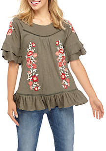 Cupio Flounce Embroidered Sleeve Top