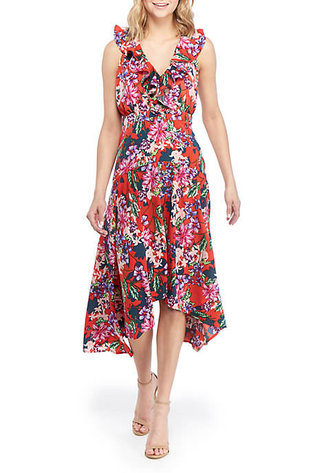 Cupio Ruffle V Neck Floral Maxi Dress