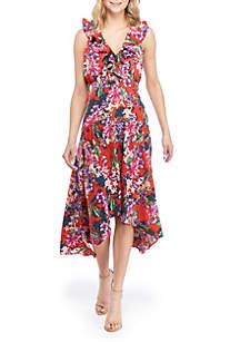 Cupio Ruffle V Neck Floral Maxi Dress