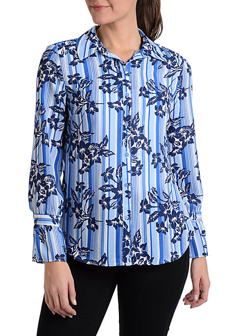 NY Collections Striped Bell Sleeve Button Up Blouse