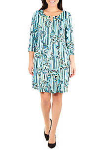 NY Collections 3/4 Sleeve Fit and Flare Dress