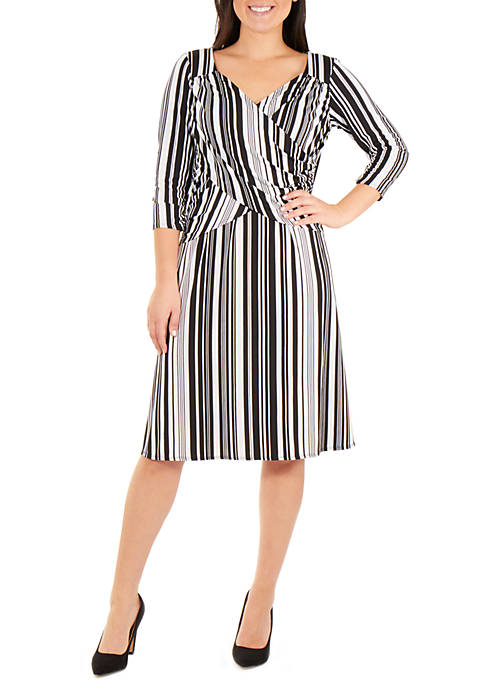 NY Collections 3/4 Sleeve Printed Cross Ruching Dress