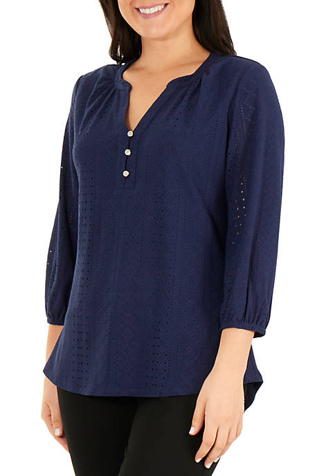 3/4 Sleeve Y Neck Blouse