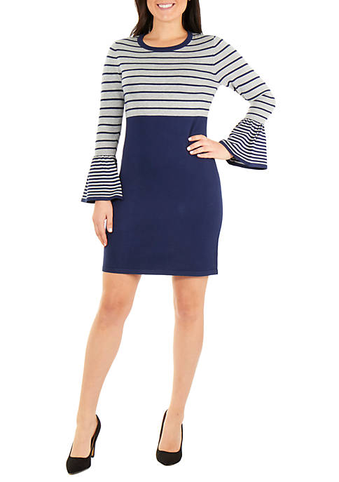 NY Collections Long Sleeve Stripe Dress