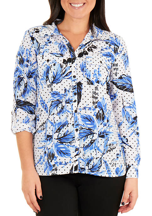 NY Collections Floral Roll Tab Button Up Blouse