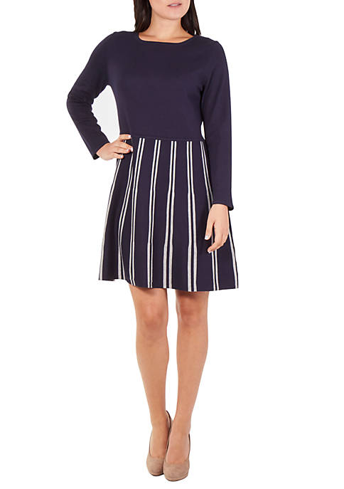 NY Collections Long Sleeve Solid Striped Dress