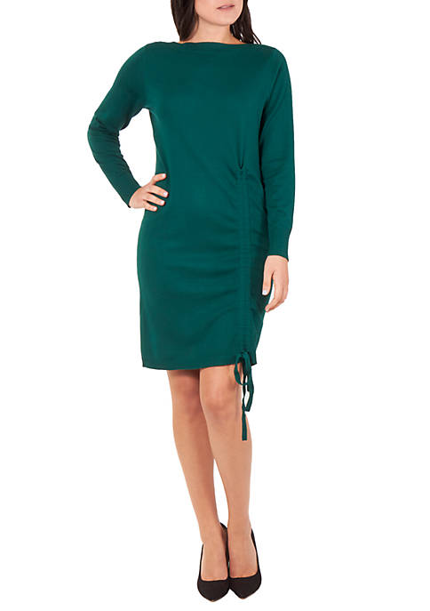 Long Sleeve Boat Neck Front Ruched Dress