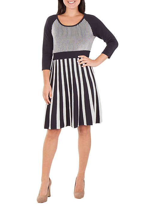 NY Collections 3/4 Sleeve Stripe Flare Dress