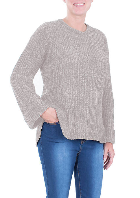 NY Collections Cuffed Long Sleeve High Low Chenille