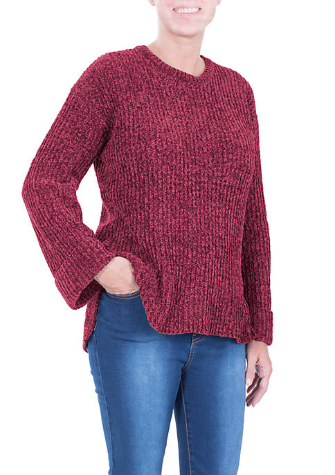 Cuffed Long Sleeve High Low Chenille Pullover