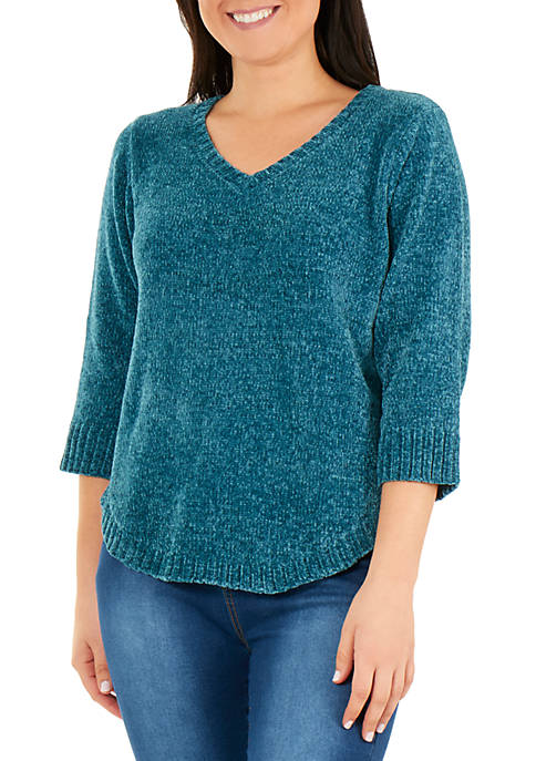 NY Collections 3/4 Sleeve V Neck Sweater