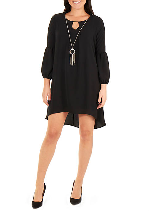 NY Collections Petite Long Sleeve High Low Hem