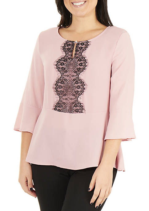 NY Collections Petite 3/4 Bell Sleeve Peplum Top