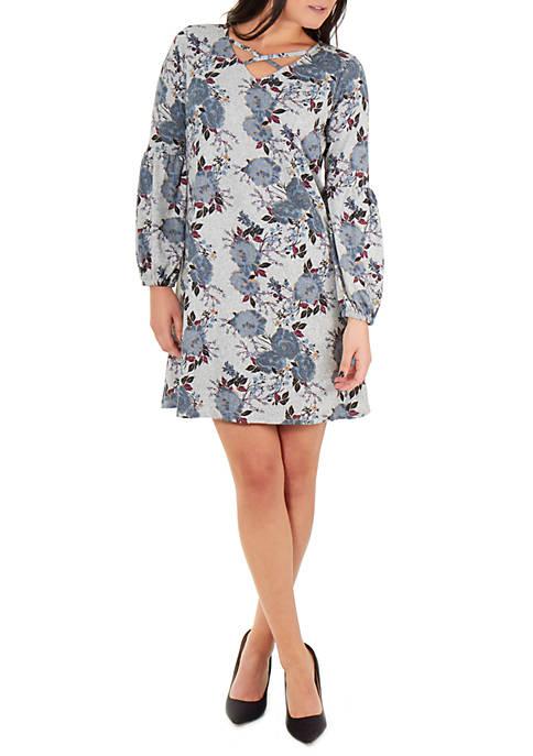 Petite Long Sleeve V Neck Lattice Dress
