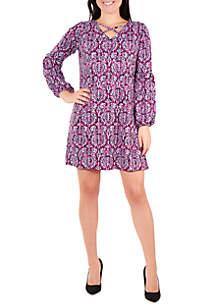 d5f6858d5ea ... NY Collections Petite Long Sleeve V Neck Lattice Dress