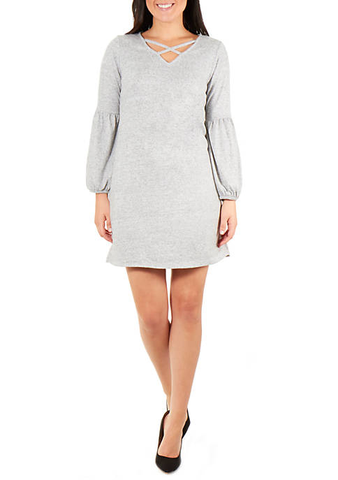 NY Collections Petite Long Sleeve V Neck Lattice