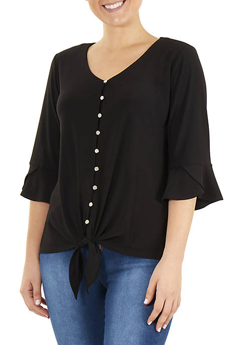 Petite 3/4 Bell Sleeve V Neck Tie Front Top