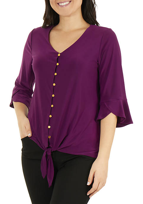NY Collections Petite 3/4 Bell Sleeve V Neck