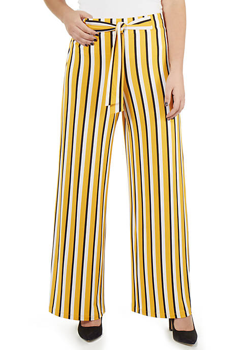 NY Collections Petite Striped Tie Front Pants